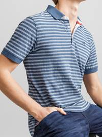 Bleu Stripete Polo Pique 7231244_JEAN PAUL_BLEU STRIPE POLO_DETAIL_EGU_Bleu Stripete Polo Pique EGU.jpg_Right||Right