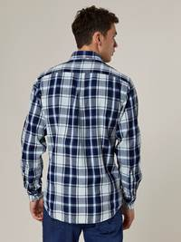 Indigo Herringbone Check Skjorte - Regular Fit 7244151_D03-JEANPAUL-A20-Modell-back_36689_Indigo Herringbone Check Skjorte - Regular Fit D03.jpg_Back||Back