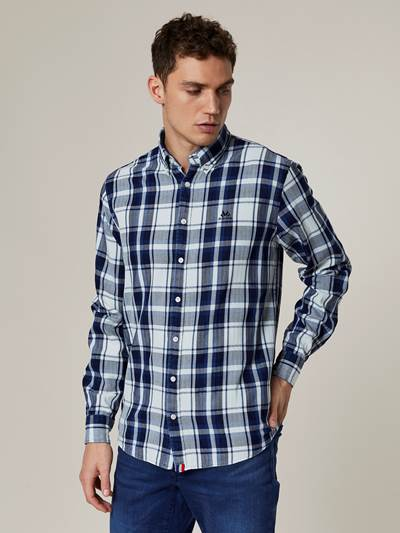 Indigo Herringbone Check Skjorte - Regular Fit D03