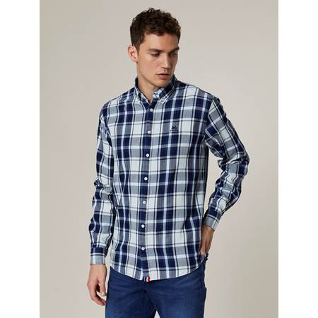 Indigo Herringbone Check Skjorte - Regular Fit